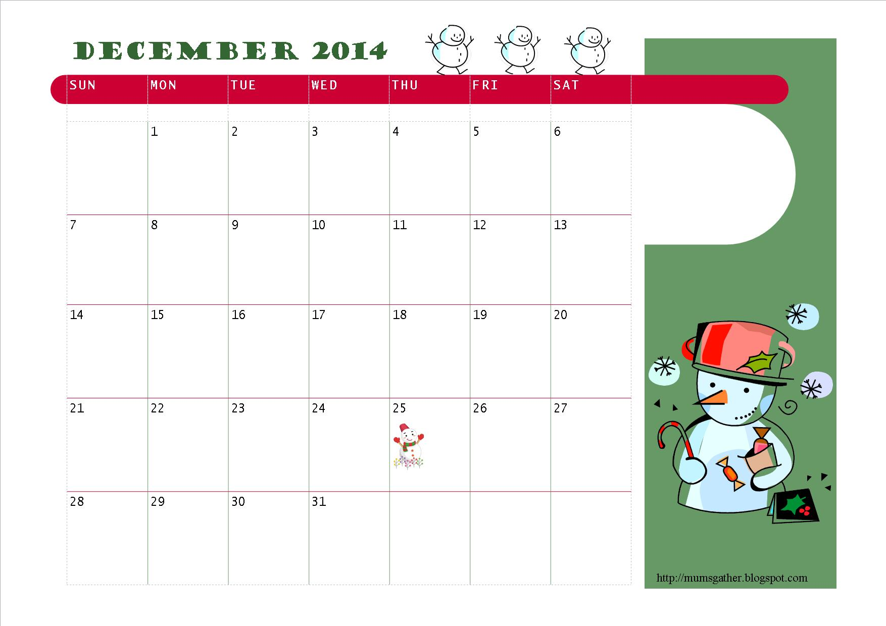 Free Printable Kids Calendar : Parenting times free printable december calendar for